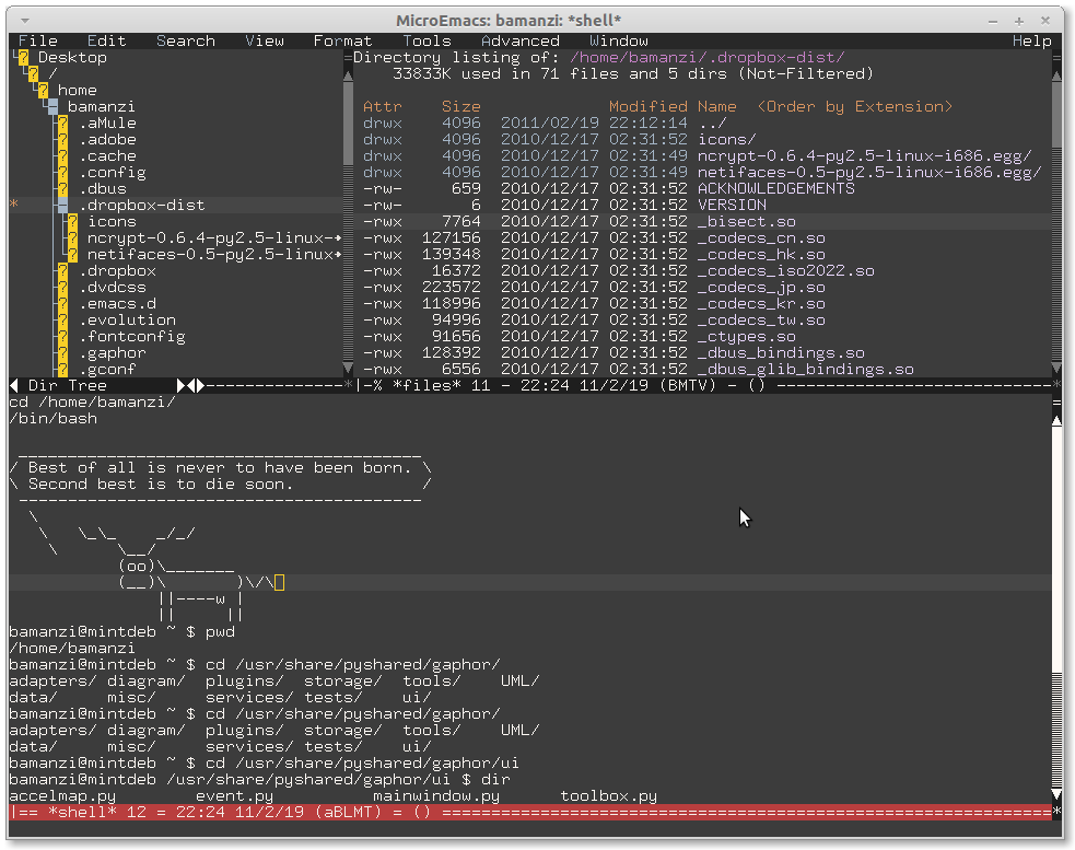 file browser & shell in microemacs jasspa